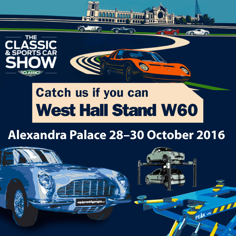 equipment4garages catch us at Classic and Sports Car Show 28-30 October graphic
