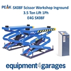 E4G SX08F Peak Scissor Workshop Inground 3.5 Ton Lift 1ph/3ph